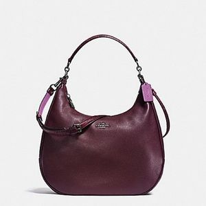 Coach East West Harley Hobo in Oxblood and Python